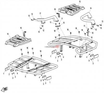 NÁHRADNÉ DIELY CF MOTO X8 - Predné a zadné rámy