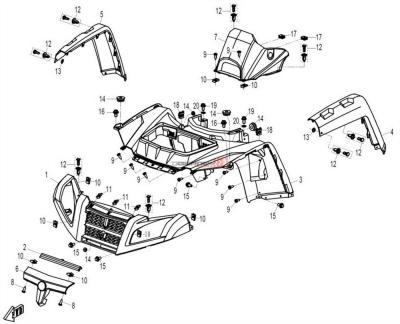 NÁHRADNÉ DIELY CF MOTO X8 - Predné plasty