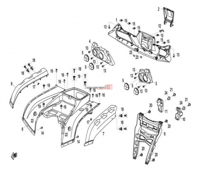 NÁHRADNÉ DIELY CF MOTO X8 - Zadné plasty