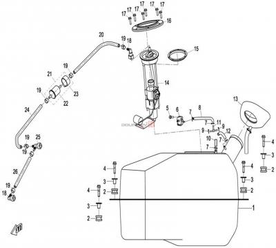 NÁHRADNÉ DIELY CF MOTO X8 - Palivová nádrž (kov)