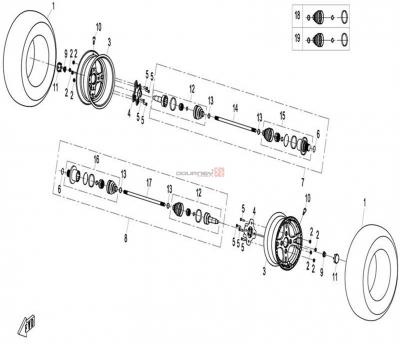 NÁHRADNÉ DIELY CF MOTO X8 - Zadné kolesá