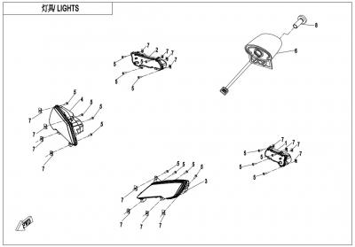 NÁHRADNÉ DIELY CF MOTO X850 - Svetlá