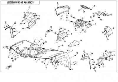 NÁHRADNÉ DIELY CF MOTO X850 - Predné plasty (čierna, camo, oranžová)