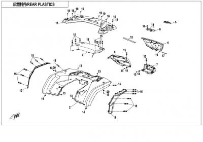 NÁHRADNÉ DIELY CF MOTO X850 - Zadné plasty (čierna, camo, oranžová)