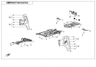 NÁHRADNÉ DIELY CF MOTO X850 - Spodné plasty plasty (čierna, camo, oranžová)