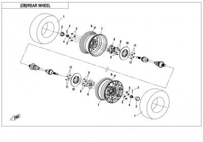 NÁHRADNÉ DIELY CF MOTO X850 - Zadné kolesá