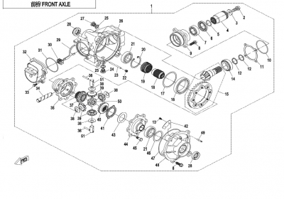 NÁHRADNÉ DIELY CF MOTO X850 - Predná náprava
