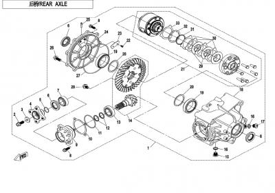 NÁHRADNÉ DIELY CF MOTO X850 - Zadná náprava (s auto zámkom diferenciálu)