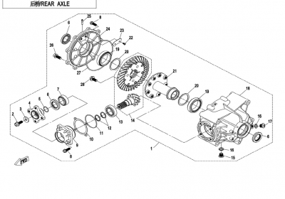 NÁHRADNÉ DIELY CF MOTO X850 - Zadná náprava (bez diferenciálu)