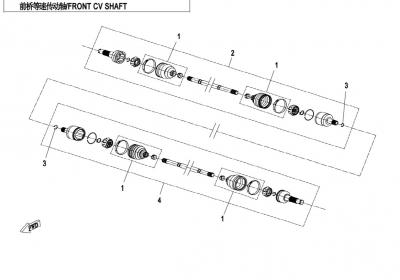 NÁHRADNÉ DIELY CF MOTO X850 - Predná poloos