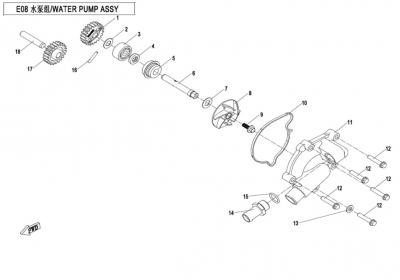 NÁHRADNÉ DIELY CF MOTO X850 - Vodná pumpa