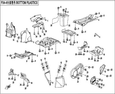 NÁHRADNÉ DIELY CF MOTO X520 - Spodné plasty (dlhá verzia)