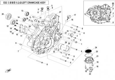 NÁHRADNÉ DIELY CF MOTO X520 - Ľavý blok motora