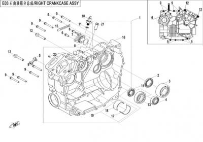 NÁHRADNÉ DIELY CF MOTO X520 - Pravý blok motora