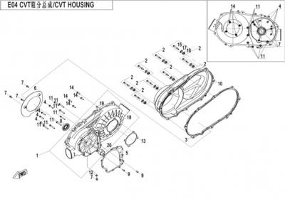 NÁHRADNÉ DIELY CF MOTO X520 - Skriňa variátora