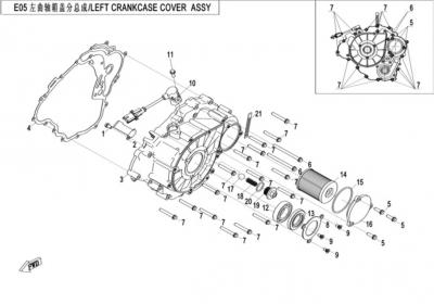 NÁHRADNÉ DIELY CF MOTO X520 - Ľavý kryt bloku motora