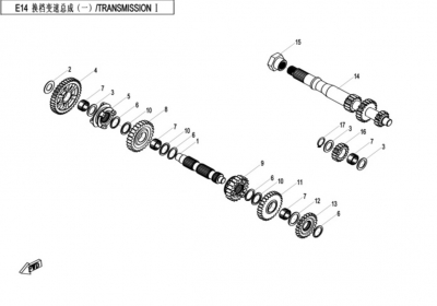NÁHRADNÉ DIELY CF MOTO X520 - Prevody I