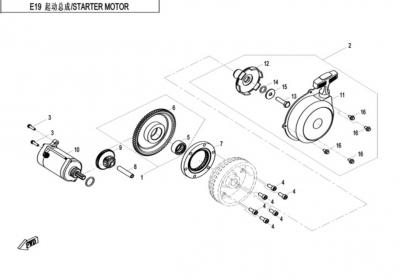 NÁHRADNÉ DIELY CF MOTO X520 - Štartér
