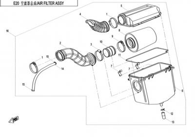 NÁHRADNÉ DIELY CF MOTO X520 - Vzduchový box