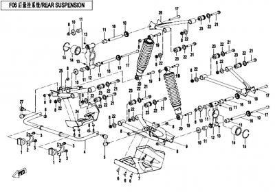 NÁHRADNÉ DIELY CF MOTO X520 - Zadná náprava