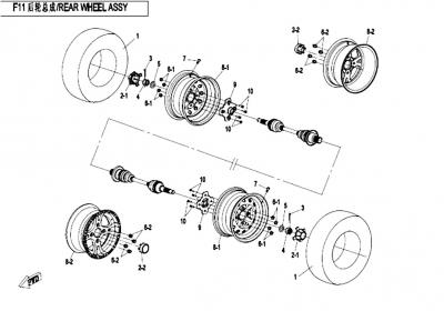 NÁHRADNÉ DIELY CF MOTO X520 - Zadné kolesá