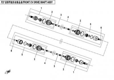 NÁHRADNÉ DIELY CF MOTO X520 - Predná poloos I