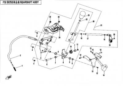 NÁHRADNÉ DIELY CF MOTO X520 - Radiaca páka