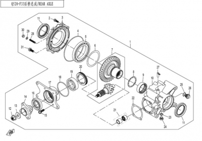 NÁHRADNÉ DIELY CF MOTO X520 - Zadná rozvodovka