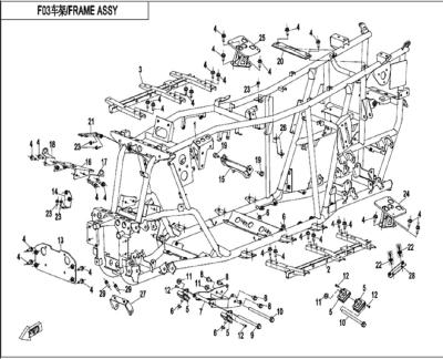 NÁHRADNÉ DIELY CF MOTO X520 - Hlavný rám (dlhá verzia)