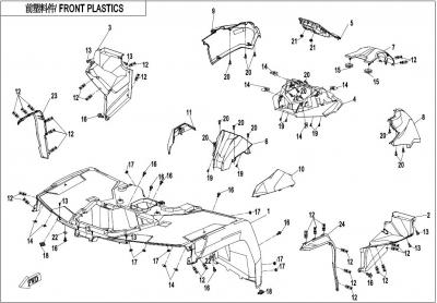 NÁHRADNÉ DIELY CF MOTO X1000 - Predné plasty