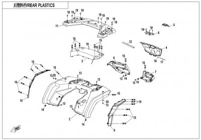 NÁHRADNÉ DIELY CF MOTO X1000 - Zadné plasty
