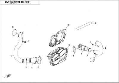 NÁHRADNÉ DIELY CF MOTO X1000 - Vzduchové potrubie variátora