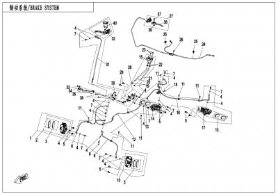 NÁHRADNÉ DIELY CF MOTO X1000 - Brzdový systém L, H, Parking