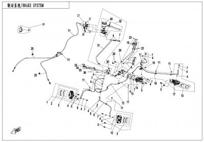 NÁHRADNÉ DIELY CF MOTO X1000 - Brzdový systém R, H, Parking