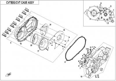 NÁHRADNÉ DIELY CF MOTO X1000 - Skriňa variátora