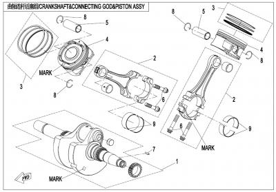 NÁHRADNÉ DIELY CF MOTO X1000 - Kľuková hriadeľ / ojnice / piesty