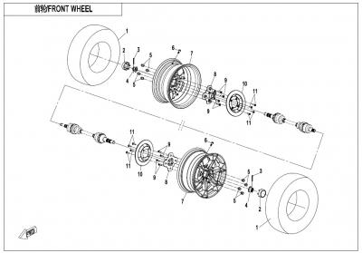 NÁHRADNÉ DIELY CF MOTO X1000 - Predné kolesá