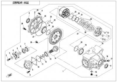 NÁHRADNÉ DIELY CF MOTO X1000 - Zadná náprava (s autozámkom diferenciálu)