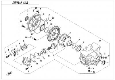 NÁHRADNÉ DIELY CF MOTO X1000 - Zadná náprava (s čeľusťovým zámkom diferenciálu)