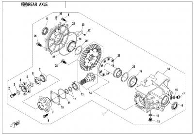 NÁHRADNÉ DIELY CF MOTO X1000 - Zadná náprava (bez diferenciálu)