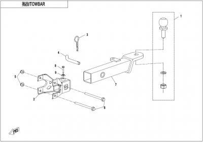 NÁHRADNÉ DIELY CF MOTO X1000 - Ťažné zariadenie