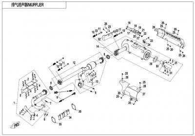 NÁHRADNÉ DIELY CF MOTO X1000 - Výfukové ústrojenstvo