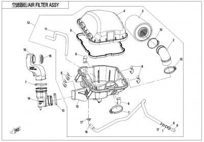 NÁHRADNÉ DIELY CF MOTO X1000 - Zostava vzduchového filtra I