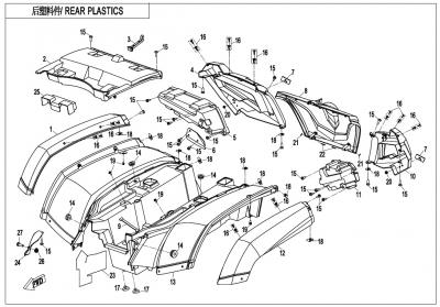 NÁHRADNÉ DIELY CF MOTO X600 - Zadné plasty