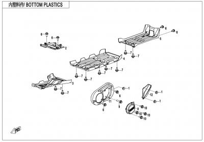 NÁHRADNÉ DIELY CF MOTO X600 - Spodné plasty