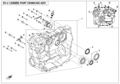 NÁHRADNÉ DIELY CF MOTO X600 - Pravá strana kľukovej skrine