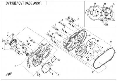 NÁHRADNÉ DIELY CF MOTO X600 - Skriňa variátora
