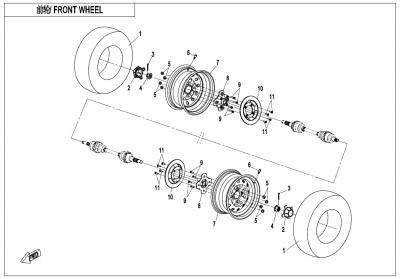 NÁHRADNÉ DIELY CF MOTO X600 - Predné kolesá