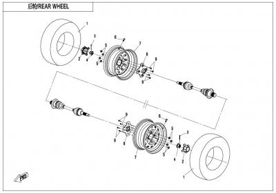 NÁHRADNÉ DIELY CF MOTO X600 - Zadné kolesá
