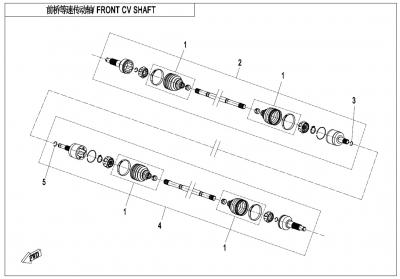 NÁHRADNÉ DIELY CF MOTO X600 - Predná poloos